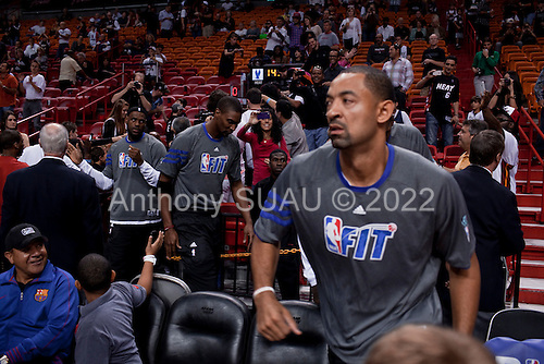 Miami, Florida<br /> January 29, 2012<br /> <br /> Juwan Howard and LeBron James of the Miami HEAT enter the court as they prepare to take on the Chicago Bulls.