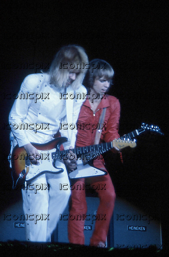 Styx - James Young & Tommy Shaw - performing live in concert in New York City USA - May 1981.   Photo Credit : David Plastik/ IconicPix