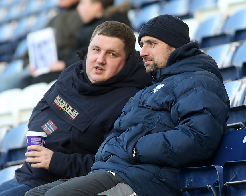 Preston North End fans take in the pre-match atmosphere<br /> <br /> Photographer David Shipman/CameraSport<br /> <br /> The EFL Sky Bet Championship - Preston North End v Burton Albion - Saturday 26th November 2016 - Deepdale<br /> <br /> World Copyright &copy; 2016 CameraSport. All rights reserved. 43 Linden Ave. Countesthorpe. Leicester. England. LE8 5PG - Tel: +44 (0) 116 277 4147 - admin@camerasport.com - www.camerasport.com