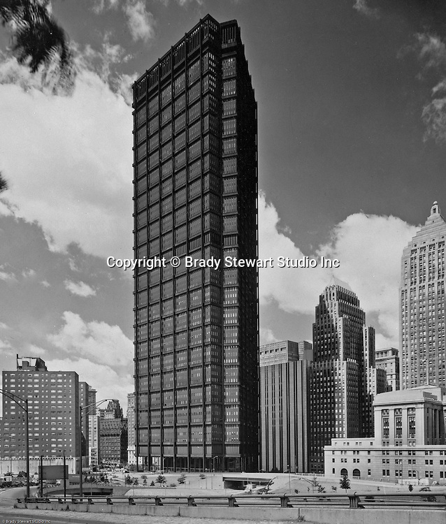 Pittsburgh PA: View of the new US Steel Building -1971.  Completed in 1970, the US Steel Bldg is the largest skyscraper in Pittsburgh and the fourth largest in Pennsylvania (64 floors).