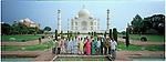 People from an Indian Village pose in front of the Taj Mahal in Agra. India is the second most populous country in the world. with over a 1 billion people. There are many World Heritage UNESCO sites there including the Taj Mahal, Gateway of India and the princely palaces of the Maharaj.