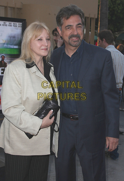 "JOE MANTEGNA & GUEST.""Redbelt"" Los Angeles Premiere held at the Egyptian Theatre, Hollywood, California, USA..April 7th, 2008.half length black suit white jacket clutch bag goatee facial hair .CAP/ADM/CH.©Charles Harris/AdMedia/Capital Pictures"