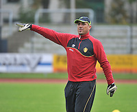 20131013 - BAMBERG , GERMANY : Belgian GK Coach Bart Lemmens pictured during the female soccer match between Switzerland Women U17 and Belgium U17 , in the second game of the Elite round in group 6 in the UEFA European Women's Under 17 competition 2013 in the Fuchs Park Stadion - Bamberg  Sunday 13 October 2013. PHOTO DAVID CATRY
