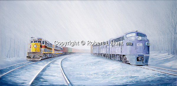 "Conrail F units running side by side with Erie Lackawanna diesels pulling a trailer train in winter snow, just after the federal railroad merger in 1976. Oil on canvas, 18"" x 36""."