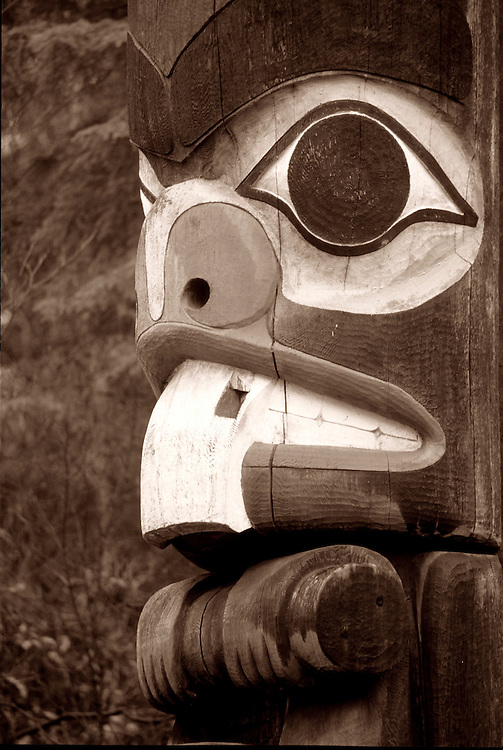 Close-up of beaver face on totem pole in Thunderbird Park, downtown Victoria, BC.