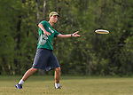 22 May 2016: The Vermont Commons School Flying Turtles practice prior to the start of the Pioneer Valley Ultimate Disk Invitational Tournament at the Oxbow Marina Fields in Northampton, Massachusetts. Mandatory Credit: Ed Wolfstein Photo *** RAW (NEF) Image File Available ***