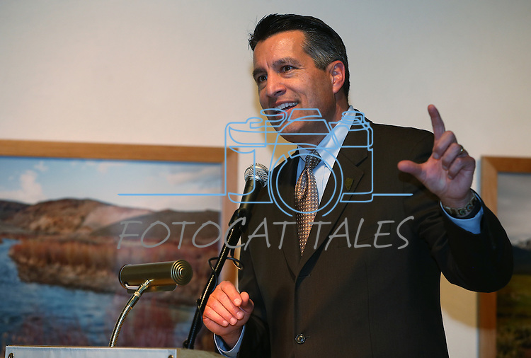 "Gov. Brian Sandoval speaks at the grand opening event for the ""Finding Fremont: Pathfinder of the West"" exhibit at the Nevada State Museum, in Carson City, Nev., on Wednesday, Jan. 29, 2014. (Las Vegas Review-Journal/Cathleen Allison)"