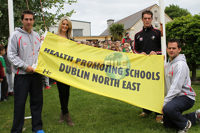 Declan Byrne, Shane Lynch and Padraig Rath with Elaine McHugh at the Flag Raising at Tullyallen NS.....Photo NEWSFILE/Jenny Matthews.