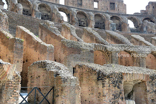 Interior of the Colosseum, also known as the Flavian Amphitheatre, in Rome, Italy showing the supports for the seats where the spectators watched the games on Friday, May 25, 2012. The holes in the bricks were created by people plundering the iron clamps, which held the stone together without mortar, in the Middle Ages..Credit: Ron Sachs / CNP
