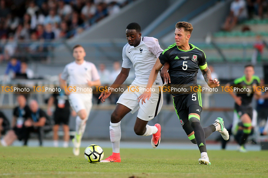 Joe Rodon of Wales U20 and Jean-Philippe Mateta of France U20 challenge for the ball during France Under-20 vs Wales Under-20, Toulon Tournament Football at Stade de Lattre-de-Tassigny on 30th May 2017