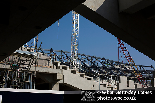 Tottenham Hotspur 4 Watford 0, 08/04/2017. White Hart Lane, Premier League. Building work on the new stadium in progress behind the North Stand before Tottenham Hotspur took on Watford in an English Premier League match at White Hart Lane. Spurs were due to make an announcement in April 2016 regarding when they would move out of their historic home and relocate to Wembley as their new stadium was completed. Spurs won this match 4-0 watched by a crowd of 31,706, a reduced attendance figure due to the ongoing ground redevelopment. Photo by Colin McPherson.
