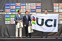 Picture by Alex Broadway/SWpix.com - 30/09/2018 - Cycling 2018 Road Cycling World Championships Innsbruck-Tirol, Austria - Men's Elite Road Race - David Lappartient UCI President and Yorkshire 2019 Chief Executive Officer Andy Hindley.
