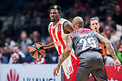 9th February 2018, Aleksandar Nikolic Hall, Belgrade, Serbia; Euroleague Basketball, Crvenz Zvezda mts Belgrade versus AX Armani Exchange Olimpia Milan; Guard Dylan Ennis of Crvena Zvezda mts Belgrade in action against Guard Jordan Theodore of AX Armani Exchange Olimpia Milan