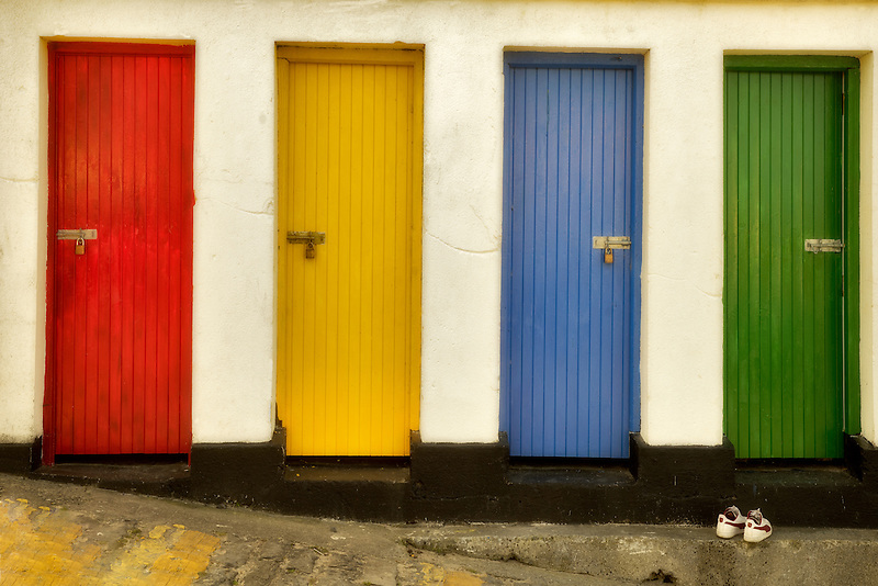 Colored doors. Inishfree Pier, Ennicrone, Ireland