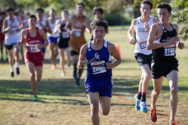 Alex Huerta of Center High School runs in the Boys Class 4A UIL Cross Country State Championships at Old Settlers Park in Round Rock, Texas, on November 12, 2016.
