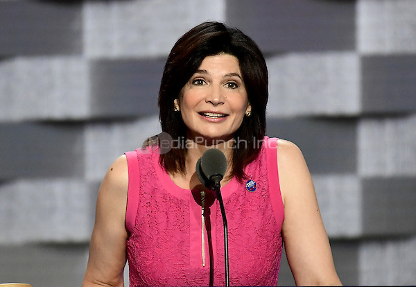 Lily Eskelsen Garc&Igrave;a, President , National Education Association, makes remarks at the 2016 Democratic National Convention at the Wells Fargo Center in Philadelphia, Pennsylvania on Monday, July 25, 2016.<br /> Credit: Ron Sachs / CNP/MediaPunch<br /> (RESTRICTION: NO New York or New Jersey Newspapers or newspapers within a 75 mile radius of New York City)