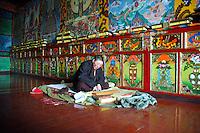 A Buddhist nun prays at a convent near Ganzi - taken March 18, 2008 - Michael Benanav - 505-579-4046