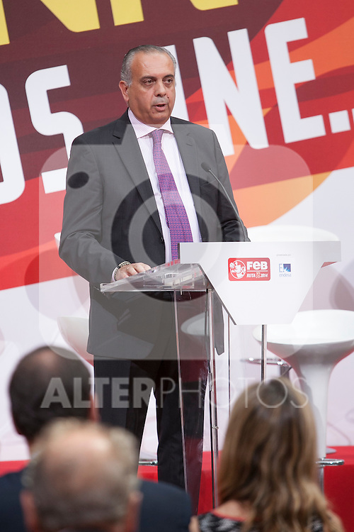 Basketball Federation´s President Jose Luis Saez during the official presentation of Spain´s basketball team for the 2014 Spain Basketball Championship in Madrid, Spain. July 24, 2014. (ALTERPHOTOS/Victor Blanco)
