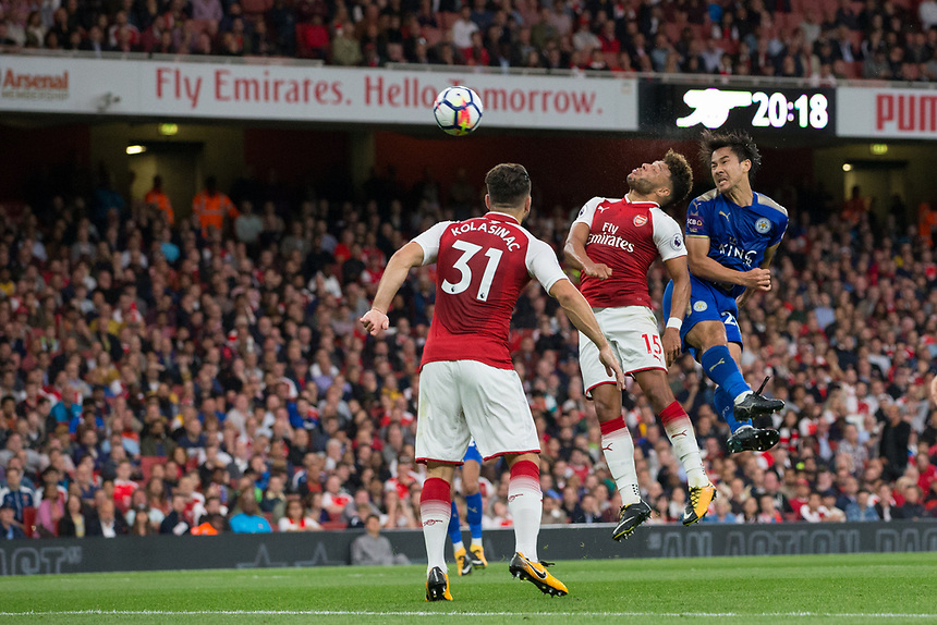 Leicester City's Shinji Okazaki heads towards goal<br /> <br /> Photographer Craig Mercer/CameraSport<br /> <br /> The Premier League - Arsenal v Leicester City - Friday 11th August 2017 - Emirates Stadium - London<br /> <br /> World Copyright &copy; 2017 CameraSport. All rights reserved. 43 Linden Ave. Countesthorpe. Leicester. England. LE8 5PG - Tel: +44 (0) 116 277 4147 - admin@camerasport.com - www.camerasport.com