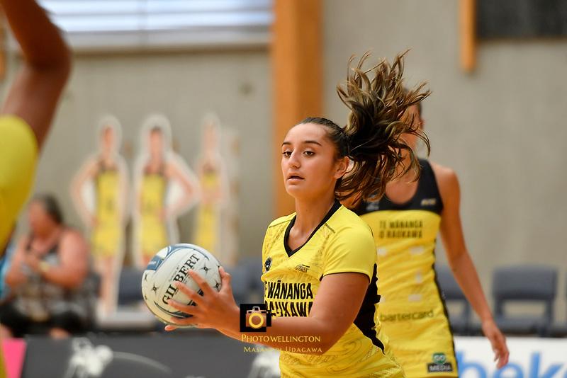 Pulse&rsquo; Tiana Metuarau, Netball Pre Season Tournament - Pulse v Stars at Ngā Purapura, Otaki, New Zealand on Saturday 9 February  2019. <br /> Photo by Masanori Udagawa. <br /> www.photowellington.photoshelter.com