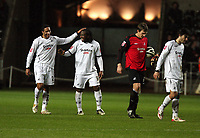 Pictured: (L-R) Ashley Williams, Jason Scotland, Dorus de Vries and Jordi Gomez of Swansea City <br /> Re: Coca Cola Championship, Swansea City FC v Reading at the Liberty Stadium. Swansea, south Wales, Saturday 17 January 2009<br /> Picture by D Legakis Photography / Athena Picture Agency, Swansea 07815441513