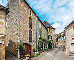 View of the Rue du Lion in the small but charming village of Saint-Cyprien, a town in the Dordogne region of France