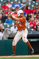 Texas Longhorns third baseman Andy McGuire #5 at bat during the NCAA baseball game against the Houston Cougars on March 1, 2014 during the Houston College Classic at Minute Maid Park in Houston, Texas. The Longhorns defeated the Cougars 3-2. (Andrew Woolley/Four Seam Images)