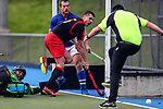 Action during the Auckland Intercity Men's bottom four Hockey match between University and Southern, Lloyd Elsmore Park, Auckland, New Zealand. Saturday 5 August 2017. Photo:Simon Watts / www.bwmedia.co.nz