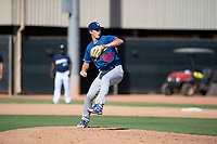 Los Angeles Dodgers relief pitcher Caleb Sampen (83) delivers a pitch during an Instructional League game against the Milwaukee Brewers at Maryvale Baseball Park on September 24, 2018 in Phoenix, Arizona. (Zachary Lucy/Four Seam Images)