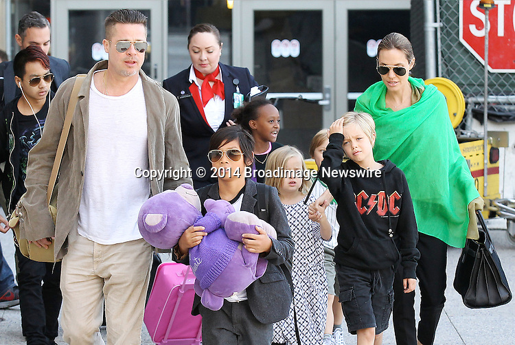 Pictured: Brad Pitt, Angelina Jolie, Shiloh Nouvel Jolie-Pitt, Maddox Chivan Jolie-Pitt, Pax Thien Jolie-Pitt, Knox Leon Jolie-Pitt, Zahara Marley Jolie-Pitt, Vivienne Marcheline Jolie-Pitt<br /> Mandatory Credit &copy; Ben Foster/Broadimage<br /> Brad Pitt, Angelina Jolie and family arriving at the Los Angeles International Airport<br /> <br /> 2/5/14, Los Angeles, California, United States of America<br /> <br /> Broadimage Newswire<br /> Los Angeles 1+  (310) 301-1027<br /> New York      1+  (646) 827-9134<br /> sales@broadimage.com<br /> http://www.broadimage.com<br /> <br /> <br /> Pictured: Brad Pitt, Angelina Jolie, Shiloh Nouvel Jolie-Pitt, Maddox Chivan Jolie-Pitt, Pax Thien Jolie-Pitt, Knox Leon Jolie-Pitt, Zahara Marley Jolie-Pitt, Vivienne Marcheline Jolie-Pitt<br /> Mandatory Credit &copy; Ben Foster/Broadimage<br /> Brad Pitt, Angelina Jolie and family arriving at the Los Angeles International Airport<br /> <br /> 2/5/14, Los Angeles, California, United States of America<br /> Reference: 020514_HDLA_BDG_016<br /> <br /> Broadimage Newswire<br /> Los Angeles 1+  (310) 301-1027<br /> New York      1+  (646) 827-9134<br /> sales@broadimage.com<br /> http://www.broadimage.com