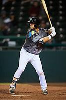 Daytona Tortugas first baseman Bruce Yari (44) at bat during a game against the Jupiter Hammerheads on April 13, 2018 at Jackie Robinson Ballpark in Daytona Beach, Florida.  Daytona defeated Jupiter 9-3.  (Mike Janes/Four Seam Images)