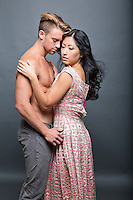contemporary interracial Asian woman white man Romance novel cover stock photograph by Jenn LeBlanc for Illustrated Romance and Studio Smexy