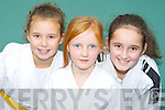 Brogayn Sheedy, Caroline Buckley and Jade Brosnan who competed at the inaugural Donal O'Brien Inter County Memorial Judo Tournament in Firies on Sunday ..