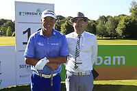 Darren Clarke (NIR) with starter Brad during Wednesday's Pro-Am of the 2014 Irish Open held at Fota Island Resort, Cork, Ireland. 18th June 2014.<br /> Picture: Eoin Clarke www.golffile.ie