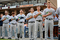 Lynchburg Hillcats (L-R) Grant Fink (33), Dillon Persinger (38), Mitch Longo (10), Eli Morgan (34), Jodd Carter (7), and Conner Capel (1) during the national anthem before the second game of a doubleheader against the Frederick Keys on June 12, 2018 at Nymeo Field at Harry Grove Stadium in Frederick, Maryland.  Frederick defeated Lynchburg 8-1.  (Mike Janes/Four Seam Images)