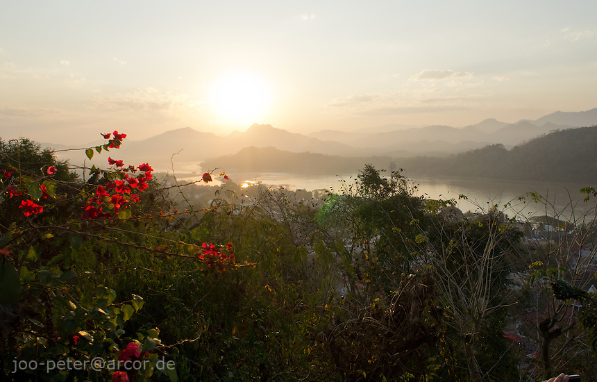 landscape with view on Mekong river in Luang Prabang, sunset time,  Laos, 2012