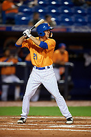 St. Lucie Mets left fielder Jacob Zanon (21) at bat during the second game of a doubleheader against the Charlotte Stone Crabs on April 24, 2018 at First Data Field in Port St. Lucie, Florida.  St. Lucie defeated Charlotte 6-5.  (Mike Janes/Four Seam Images)