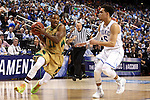13 March 2015: Notre Dame's Demetrius Jackson (11) and Duke's Tyus Jones (5). The Notre Dame Fighting Irish played the Duke University Blue Devils in an NCAA Division I Men's basketball game at the Greensboro Coliseum in Greensboro, North Carolina in the ACC Men's Basketball Tournament semifinal game. Notre Dame won the game 74-64.