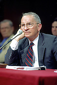Former third-party candidate for President of the United States Ross Perot testifies before the Joint Committee on the Organization of Congress on Capitol Hill in Washington, DC on Tuesday, March 2, 1993. In his testimony, Perot advised the committee to eliminate special privileges afforded to Members, such as overdraft protection at their own bank, and to set new ethical standards designed to restore the people's confidence in the institution. <br /> Credit: Ron Sachs / CNP