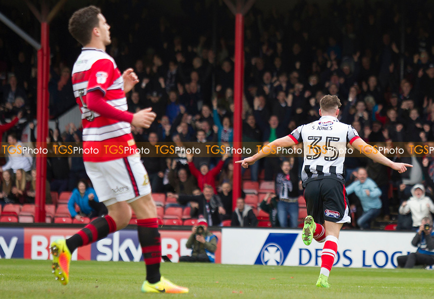 Sam Jones of Grimsby T peels off after scoring the opener during Grimsby Town vs Doncaster Rovers, Sky Bet EFL League 2 Football at Blundell Park on 1st April 2017