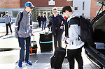OXFORD CT. 11 March 2018-031219SV05-Thomas Romeo, 17, left, and Jack Fairhurst, 17, right leave for Abu Dhabi with their principal Dorothy Potter at Oxford High School in Oxford Tuesday. The two are members of the schools Unified Sports team to take part in a global youth summit at the Special Olympics. <br /> Steven Valenti Republican-American