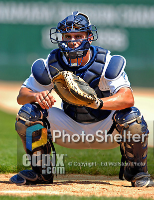 31 July 2007:  Vermont Lake Monsters catcher Craig Stinson warms up prior to a game against the Hudson Valley Renegades at Historic Centennial Field in Burlington, Vermont. The Lake Monsters defeated the Renegades 4-3 to sweep the 3-game series...Mandatory Photo Credit: Ed Wolfstein Photo