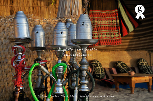 Assorted hookahs pipes (hubble-bubble) at beach restaurant, Red Sea