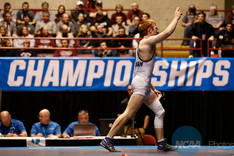 LA CROSSE, WI - MARCH 11: Lucas Malmberg of Messiah celebrates after defeating Zachary Beckner of Ferrum in the 125 weight class during the NCAA Division III Men's Wrestling Championship held at the La Crosse Center on March 11, 2017 in La Crosse, Wisconsin. Malmberg beat Beckner 5-1 to win the National Championship. (Photo by Carlos Gonzalez/NCAA Photos via Getty Images)