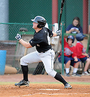 Outfielder Cory Farris (45) of the Bristol White Sox, Appalachian League affiliate of the Chicago White Sox, in a game against the Elizabethton Twins on August 18, 2011, at Joe O'Brien Field in Elizabethton, Tennessee. Elizabethton defeated Bristol, 13-3. (Tom Priddy/Four Seam Images)
