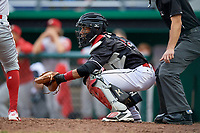 Batavia Muckdogs catcher Pablo Garcia (4) waits to receive a pitch during a game against the Williamsport Crosscutters on June 22, 2018 at Dwyer Stadium in Batavia, New York.  Williamsport defeated Batavia 9-7.  (Mike Janes/Four Seam Images)