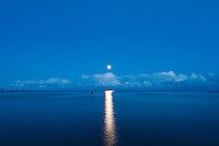 Fullmoon rising over Vestfjord; Stamsund; Lofoten islands; Norway