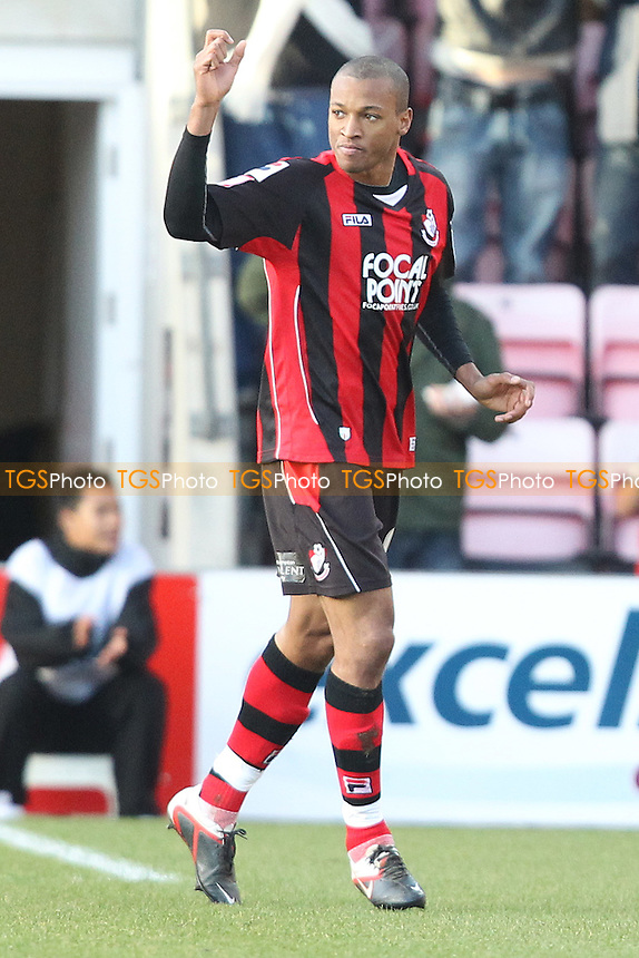 Wesley Thomas celebrates after scoring bournemouth first goal - AFC Bournemouth vs Tranmere Rovers - nPower League One Football at Dean Court Stadium - 21/01/12 - MANDATORY CREDIT: Chris Royle/TGSPHOTO - Self billing applies where appropriate - 0845 094 6026 - contact@tgsphoto.co.uk - NO UNPAID USE..