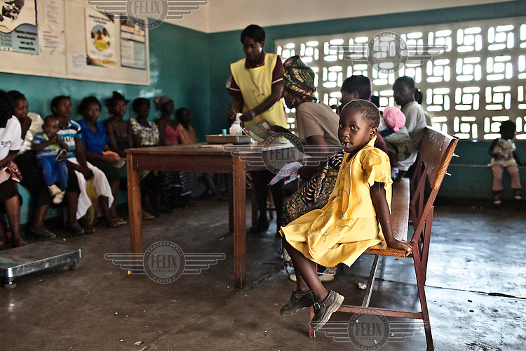 A child in the waiting room at Nakambala Urban Health Clinic.