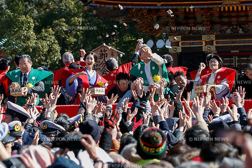 (L to R) Actor Gin Maeda, actress Nanao, actor Shunsuke Kariya and comedian Yasuko Mitsuura, take part in the Setsubun festival at Naritasan Shinshoji Temple on February 3, 2017, in Chiba, Japan. Setsubun is an annual festival celebrated on February 3rd marking the day before the beginning of Spring. Japanese families throw soybeans out of the house to ward off evil spirits and into the house to invite good fortune. Japanese actors and sumo wrestlers are invited to participate in the ceremony at Naritasan Shinshoji Temple which holds one of the biggest events in Japan. (Photo by Rodrigo Reyes Marin/AFLO)
